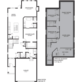 New Front Attached Garage Models Winston Floorplan Image