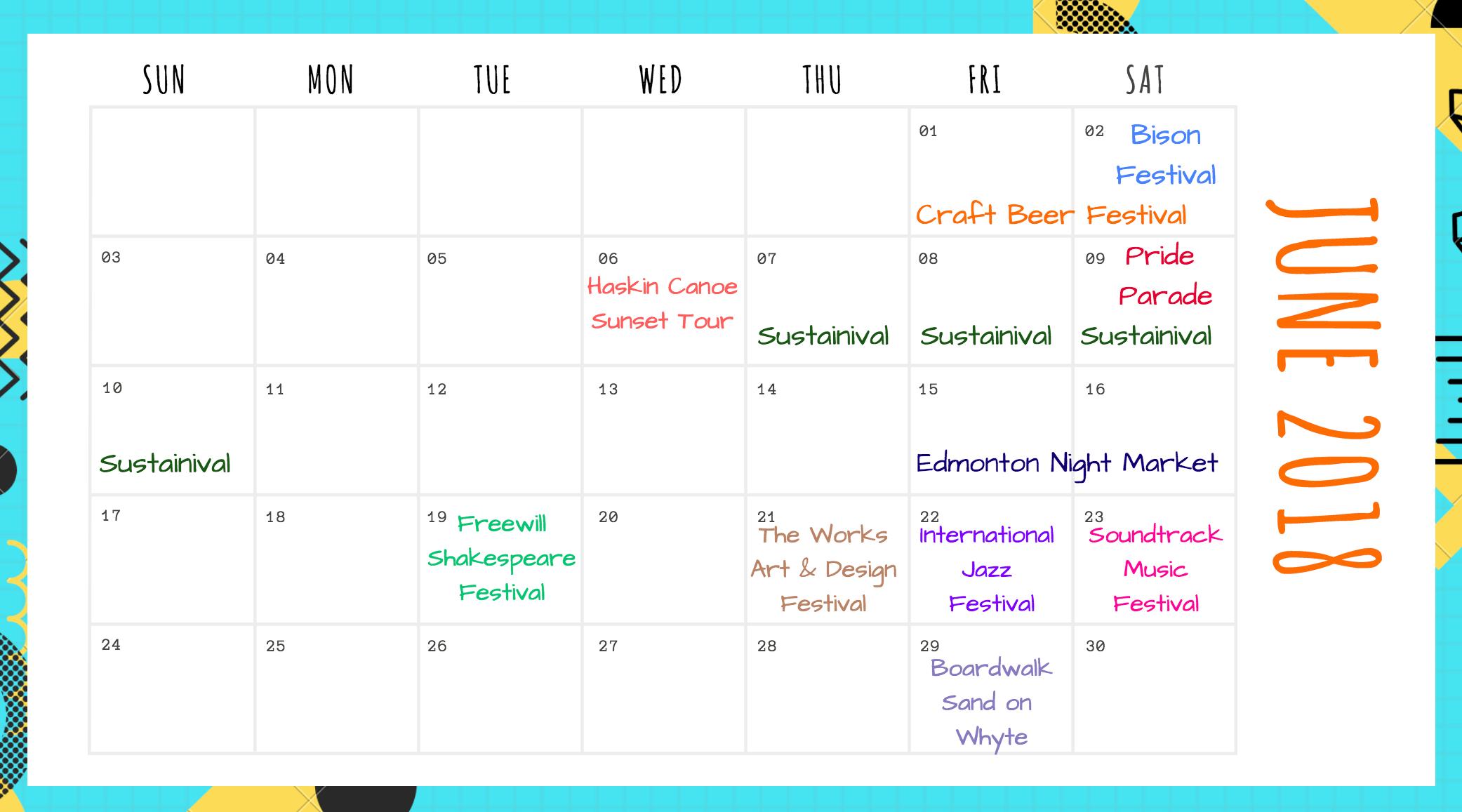 Edmonton Events Calendar for June 2018 Image